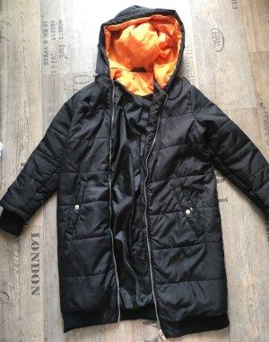 Sparkle & Fade Cappotto con cappuccio nero-arancione