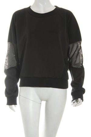 Sparkle & Fade Kraagloze sweater zwart straat-mode uitstraling