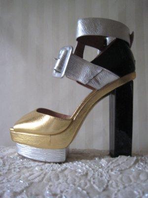 Spektakuläre High Heels Lackblockabsätze 13 cm hoher NP Ibiza Handmade Top Neu
