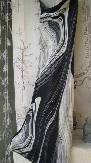 Spektakuläre schwarz weiß graue Wellen auf Chiffon für Auftritte