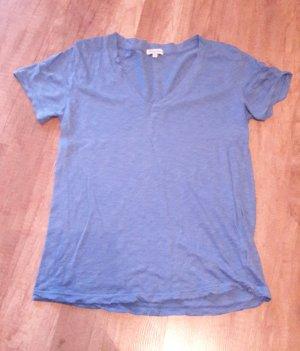 Spendlid Shirt T-Shirt V-Neck Meliert Melange Blau S