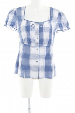 Spieht & Wensky Folkloristische blouse blauw-wit klassieke stijl
