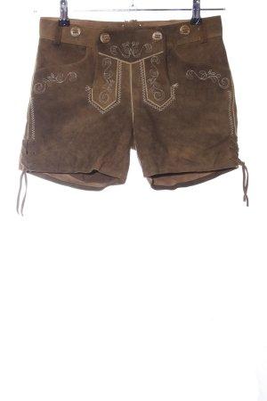 Spieht & Wensky Trachtenhose braun-wollweiß grafisches Muster Casual-Look