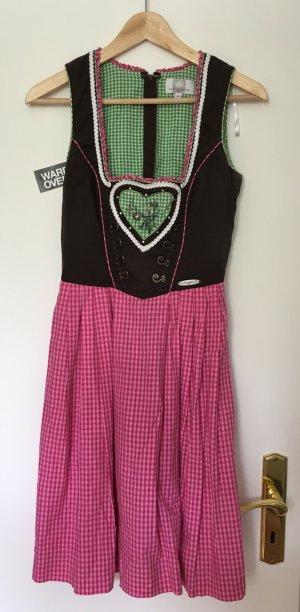 Spieth & Wensky Dirndl Ferike, Größe 34/36 XS/S, braun/pink/grün