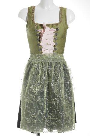 Spieth & Wensky Dirndl grün-schwarz florales Muster Ethno-Look