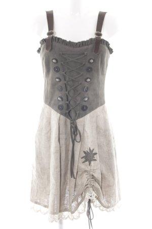 Spieth & Wensky Vestido Dirndl gris verdoso-beige claro Botones de madera