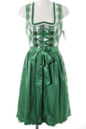 Spieth & Wensky Dirndl bianco-verde motivo a quadri stile country