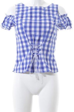 Spieth & Wensky Blouse à carreaux blanc-bleu motif à carreaux style urbain