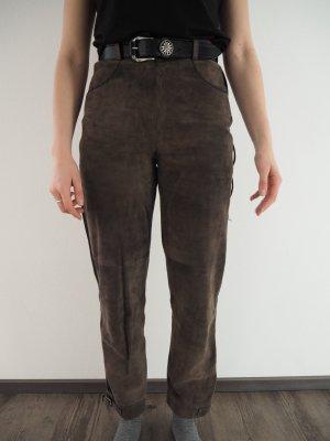 Spieht & Wensky Pantalone in pelle tradizionale marrone-grigio-nero Scamosciato