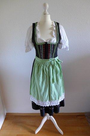 Spieth & Wensky Midi Dirndl mit Schürze schwarz grün weiß Gr. 34/36