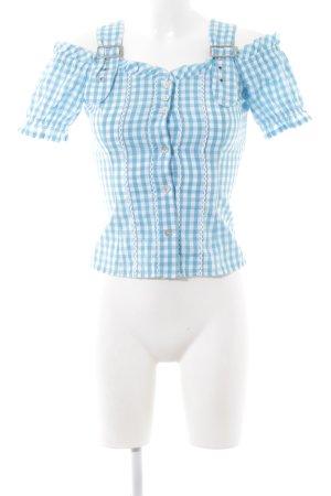 Spieth & Wensky Trachtenbluse blau-weiß Karomuster klassischer Stil