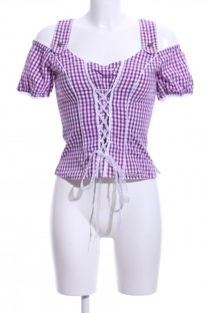 Spieth & Wensky Traditional Blouse lilac-white check pattern casual look