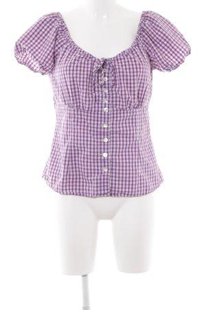 Spieth & Wensky Folkloristische blouse lila-wit geruite print klassieke stijl
