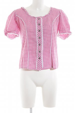 Spieth & Wensky Traditional Blouse pink-white check pattern elegant