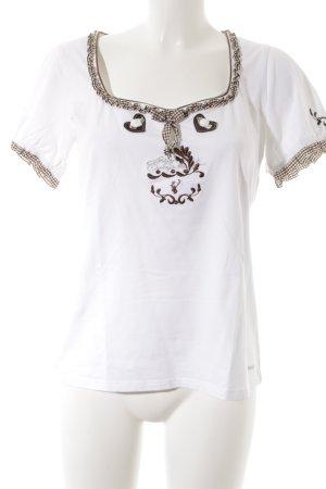 Spieth & Wensky Folkloristische blouse wit-donkerbruin geruite print