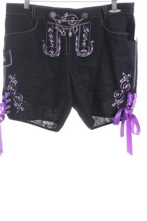 Spieth & Wensky Pantalón folclórico negro-lila estampado floral estilo country