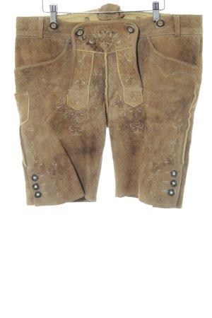 Spieth & Wensky Pantalon traditionnel en cuir bronze-brun motif abstrait