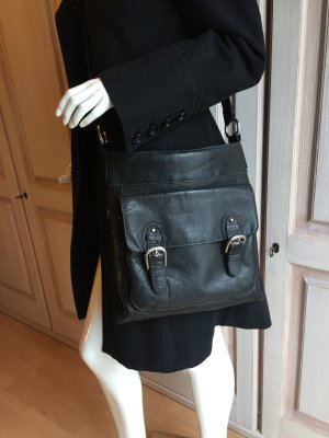 Spikes & Sparrow Handtasche echtes Leder schwarz Umhängetasche Crossover