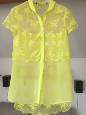Zara Blouse à manches courtes jaune fluo polyester