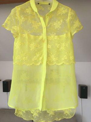 Zara Blouse à manches courtes jaune fluo
