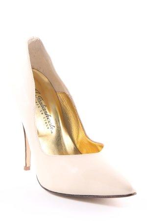 Spitz-Pumps creme-goldfarben Elegant