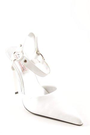 Spitz-Pumps weiß-silberfarben extravaganter Stil