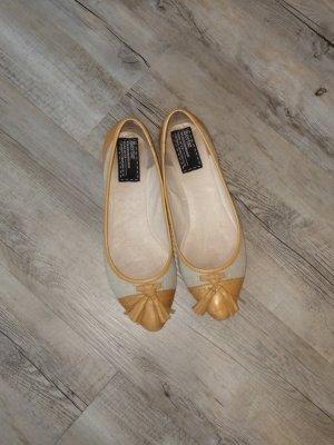Bertie Ballerine en pointe beige clair-orange doré