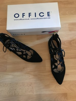 Office Ballerinas with Toecap black leather