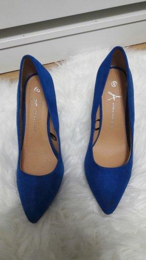 spitze blaue Velour Pumps