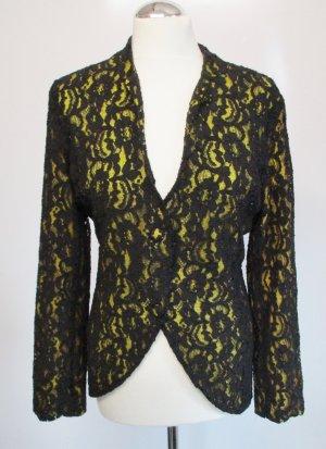 Spitze Blazer Carry Allen New York Größe 44 Schwarz Gelb Jacke Festlich Edel Elegant