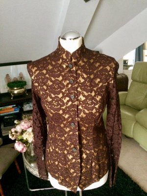 Spitze Bluse unterlegt braun Gold Gr. 38 M