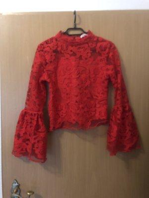 Blusa in merletto rosso