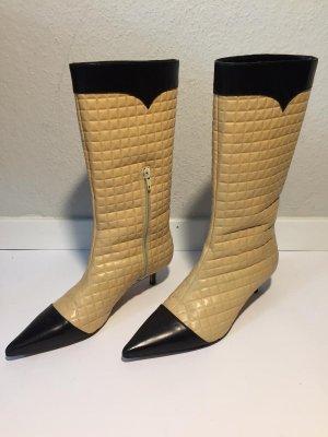 Spitze Chanel Stiefel gestepptes Leder Gr.37,5