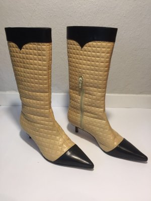 Chanel Jackboots camel-black leather