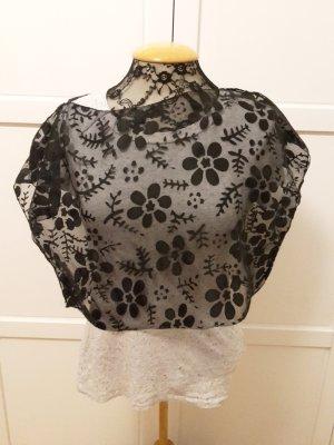 Spitze Crop Top Shirt schwarz DIY Blumenmuster One Size Einheitsgröße