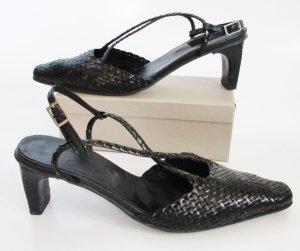Spitze Flechtleder Slingbacks Größe 37 Schwarz Pumps Sandaletten Glatt Leder Riemchen Schuhe