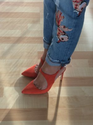 Spitze High Heels/Pumps Korallenrot Zara Neu