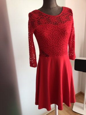 Spitze Kleid Gr38 40 S M rot Minikleid