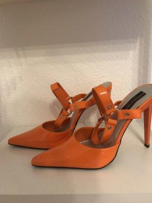 Pointed Toe Pumps neon orange