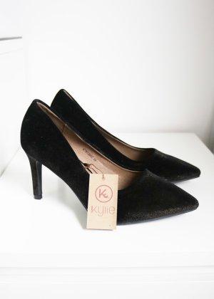 Spitze Samt Pumps schwarz gold rotgold Neu Kylie Shoes Größe 39