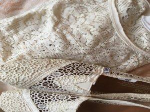 Spitze Shirt Gr XS weiß Creme Sommer Trend