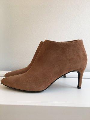 Spitze Stiefeletten m. Absatz / Ankle Boots Wildleder Cognac, Gr. 39, NEU