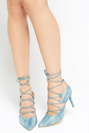 spitze Tie Up Pumps Jeansblau 38 Neu Denim zum binden hellblau chic Blogger sexy