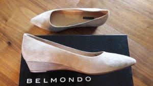 spitze Wildleder Ballerinas mit Keilabsatz, NEU, Gr.39, Belmondo