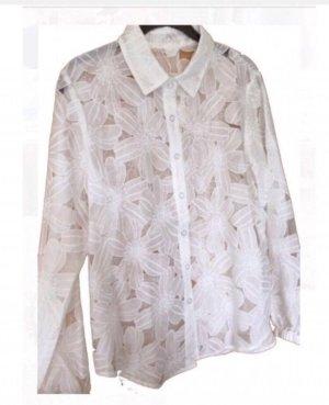 Spitzen Bluse floral weiß creme semi transparent