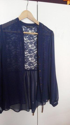 Spitzen Bluse in dunkelblau, Blumenmuster, Vintage Stil