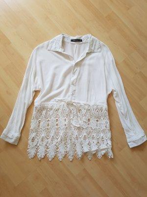 Spitzen Bluse in Weiß Gr. 36 S