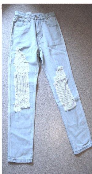 Jeans carotte bleu pâle coton