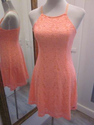 Spitzen Kleid Apricot Rückenfrei Gr M