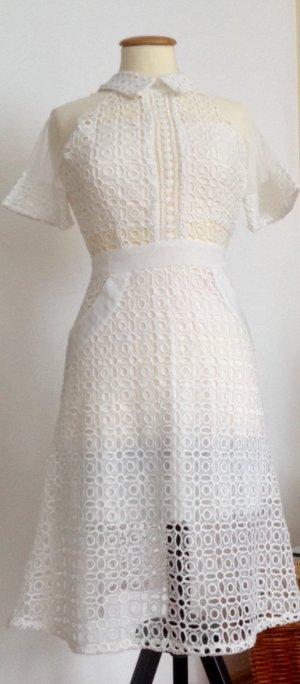 Vestido de encaje marrón grisáceo-blanco tejido mezclado
